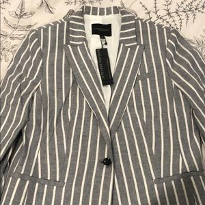 NWT blue and white stripped fitted blazer